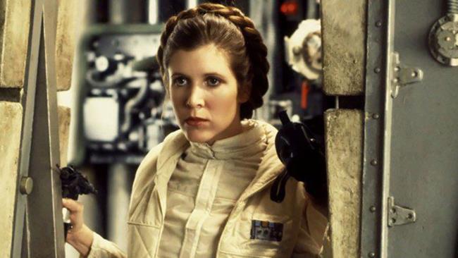 Carrie Fisher nei panni della Principessa Leila Organa sul set di Star Wars