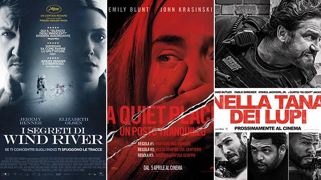 I poster dei film I segreti di Wind River, A Quiet Place - Un posto tranquillo e Nella tana dei lupi
