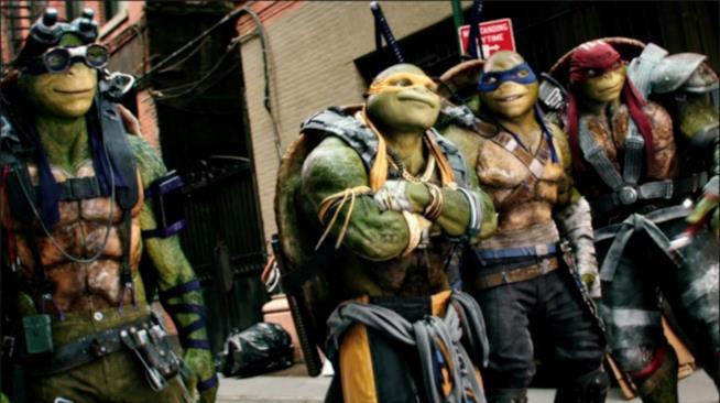 In foto Leonardo, Raffaello, Michelangelo e Donatello