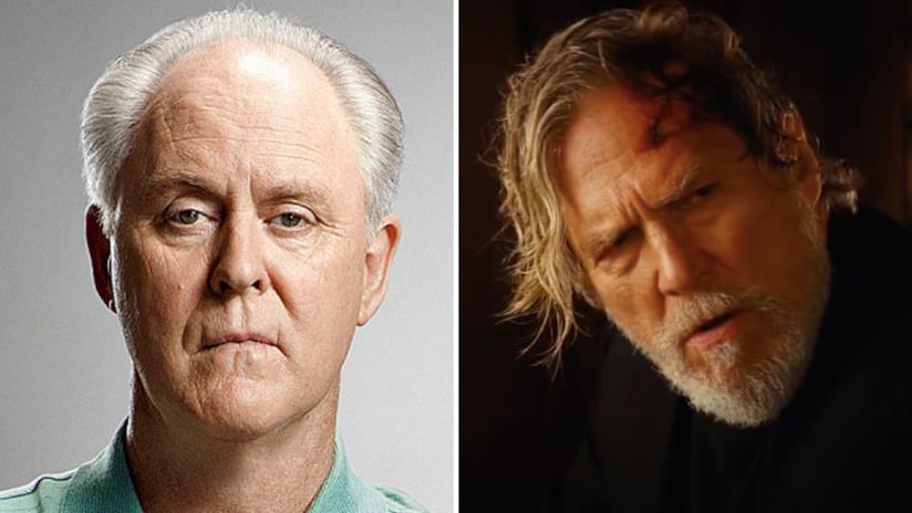 A sinistra il volto dell'attore John Lithgow e a destra quello di Jeff Bridges