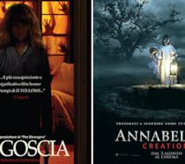 I poster dei film Angoscia e Annabelle 2: Creation