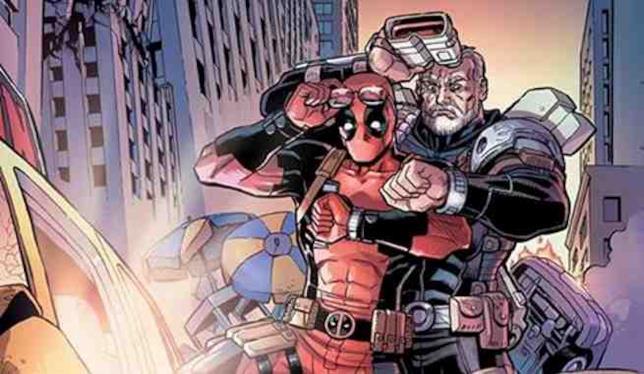 Deadpool e Cable citano la locandina di Ritorno al Futuro 2