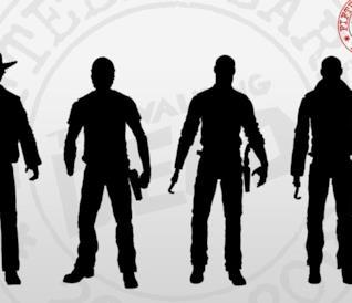 in primo piano le sagome delle action figures di Rick Grimes di The Walking Dead