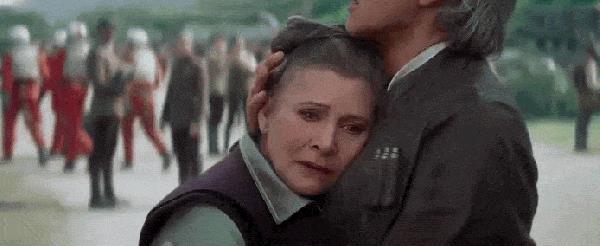 Il generale Leia Organa e Han Solo in Il Risveglio della Forza