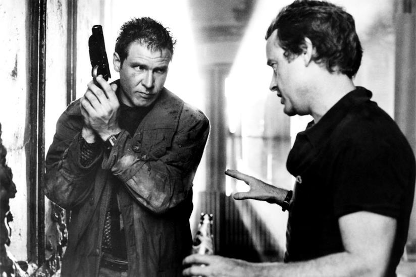 Ridley Scott sul set di Blade Runner assieme a Harrison Ford