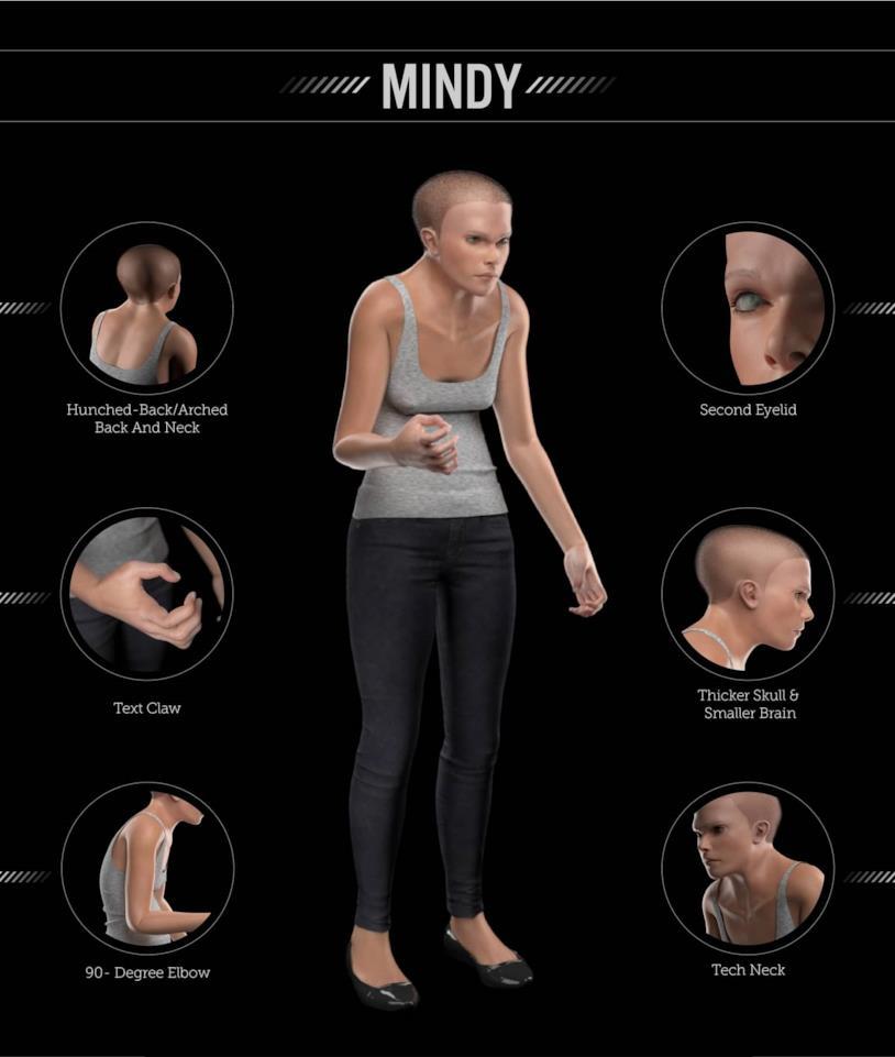 Un'immagine che ritrae i vari possibili cambiamenti del corpo umano dovuti all'uso eccessivo della tecnologia