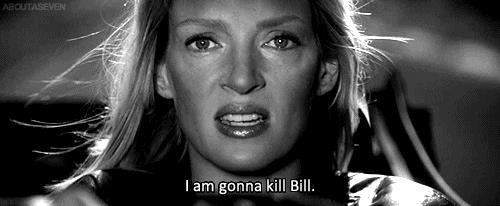 Uma Thurman sull'auto di Kill Bill 2