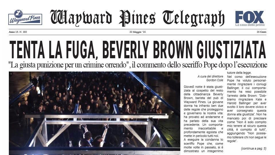 Seconda pubblicazione del Wayward Pines Telegraph