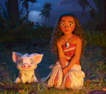 Oceania (Moana) insieme a Pua, il suo fidato amico maialino