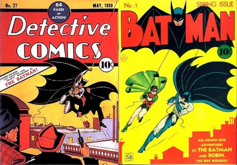 Copertine del #27 di Detective Comics (prima apparizione di Batman) e del #1 di Batman (prima apparizione del Joker)