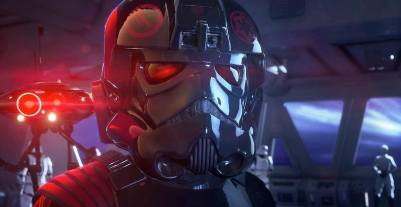 iden Versio indossa il suo elmetto da battaglia in Star Wars Battlefront 2