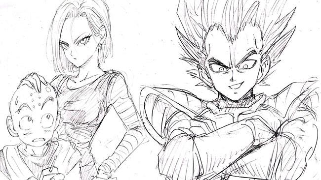 Crilin, C-18 e Vegeta disegnati da Yusuke Murata