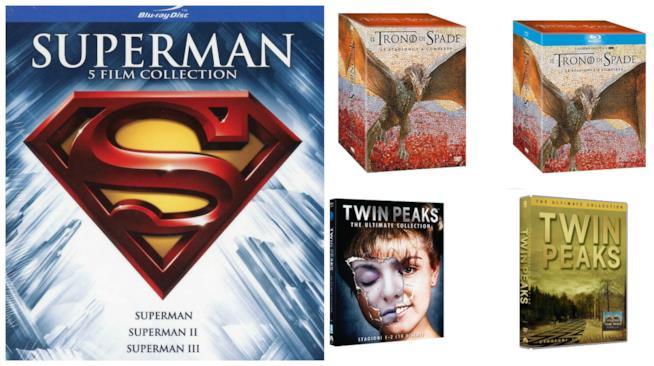 Un collage tra cofanetti e Blu-ray su Amazon