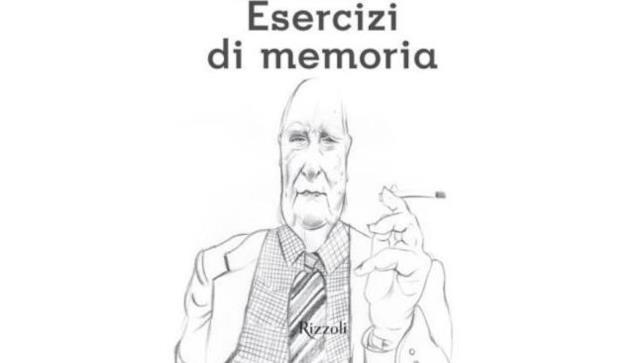 Andrea Camilleri ritratto da Pericoli nella cover di Esercizi di memoria