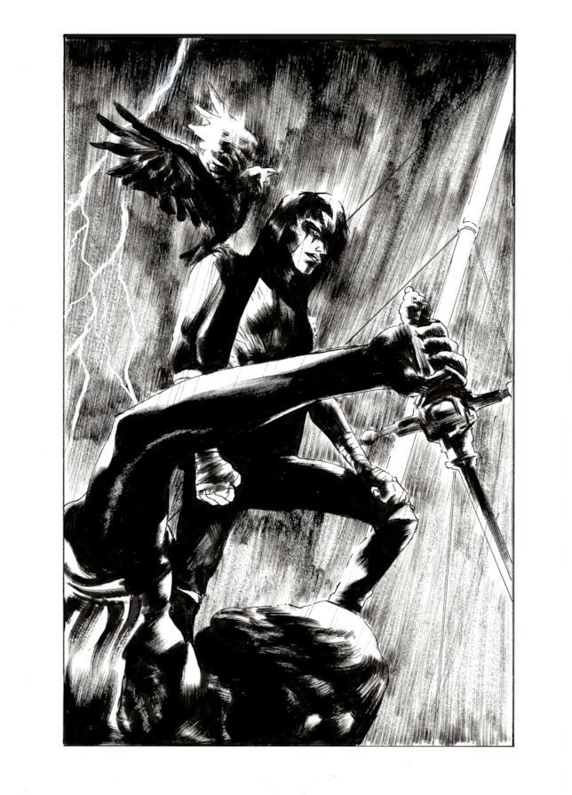 Tavola di Il Corvo: Memento Mori, con il personaggio principale su una statua