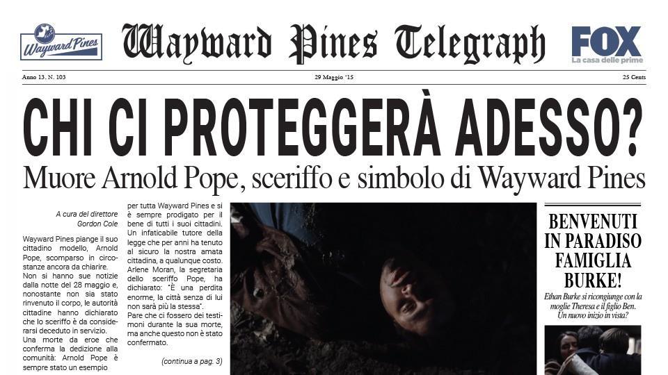 Terza pubblicazione del Wayward Pines Telegraph