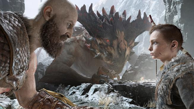 Kratos e Atreus pronti a combattere in God of War