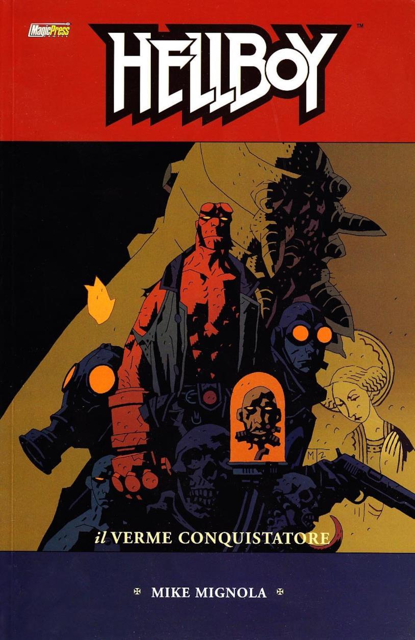 Hellboy nella cover dell'albo Il Verme Conquistatore
