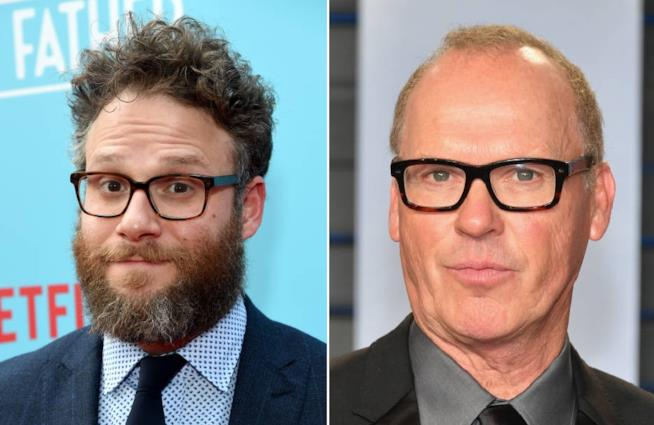 Collage di Seth Rogen e Michael Keaton