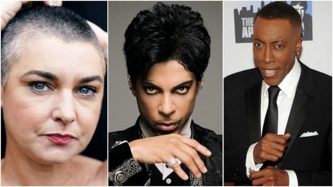 Primo piano di Prince, Sinéad O'Connor e Arsenio Hall