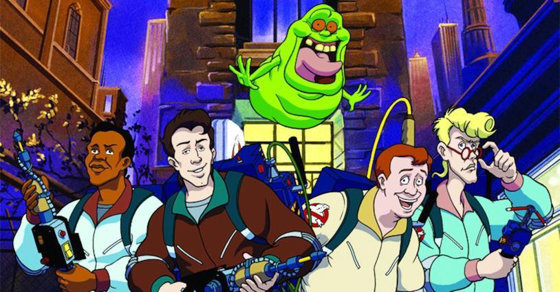 Slimer con i quattro Ghostbusters nella serie animata degli anni '80