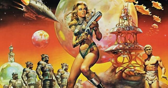 Locandina dell'indimenticato film di Barbarella con Jane Fonda