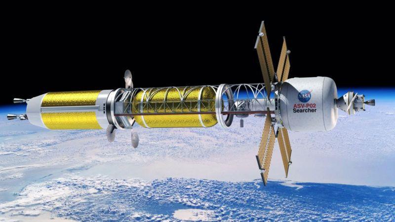 Un'illustrazione di un ipotetico razzo a propulsione nucleare