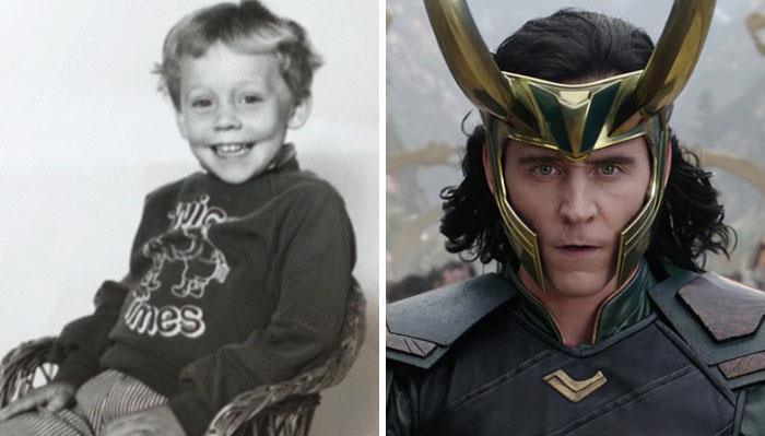 Tom Hiddeston (Loki) da bambino e nei film Marvel