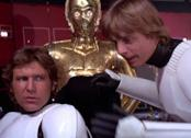 Una foto di Harrison Ford e Mark Hamill in Star Wars del 1977