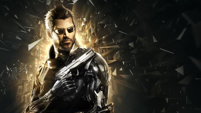 Un primo piano di Adam Jensen dalla cover di Deus Ex: Mankind Divided