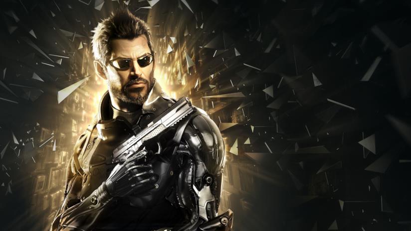 Un primo piano di Adam Jensen dalla cover di Deus Ex: Mankind Divided