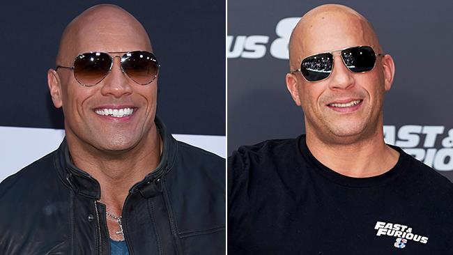 The Rock e Vin Diesel durante il lancio di Fast 8