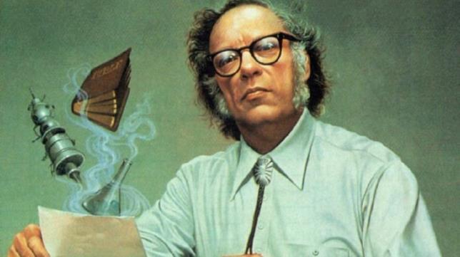 Mezzobusto disegnato di Isaac Asimov con astronavi e libri che svolazzano