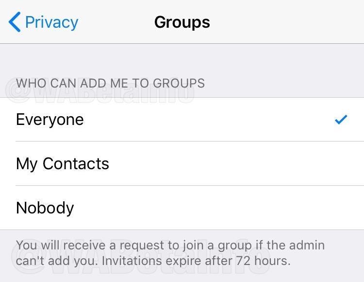 Screen dei filtri per gli inviti nei Gruppi in arrivo su WhatsApp