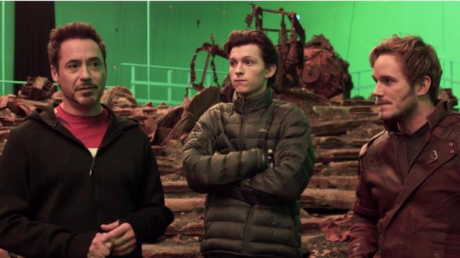 Robert Downey Jr, Tom Holland e Chris Pratt sul set di Avengers: Infinity War