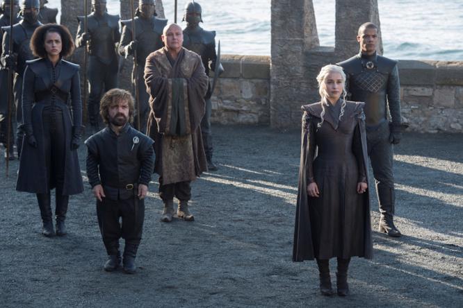 Game of Thrones 7: Daenerys Targaryen, Tyrion Lannister, Varys, Missandei e Verme Grigio a Westeros
