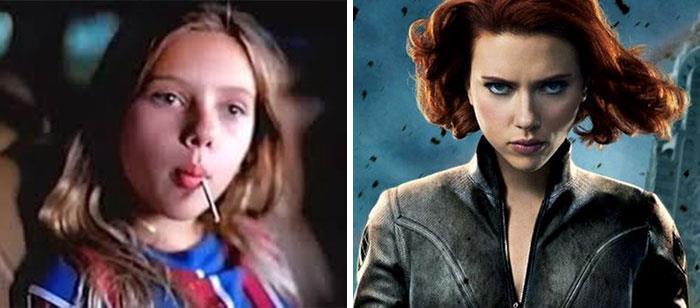 Scarlett Johansson (Vedova Nera) da bambina e nei film Marvel