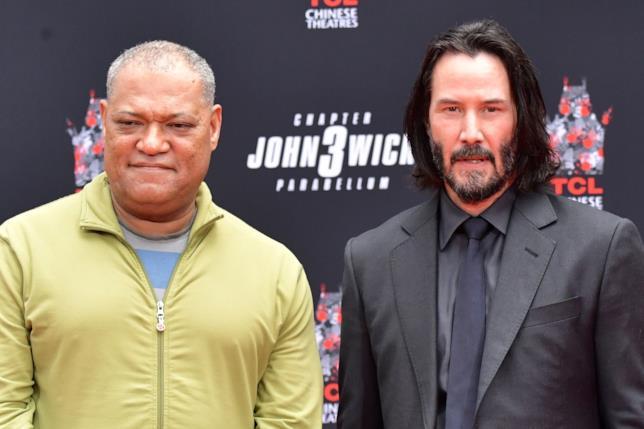 Lawrence Fishburne e Keanu Reeves posano per i fotografi