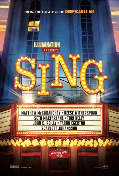 Poster ufficiale del film d'animazione Sing
