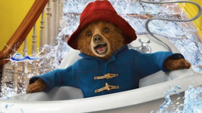 Paddington in una vasca che scivola sulle scale