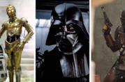 Da sinistra: i droidi R2-D2 e C-3PO, Darth Vader e il mandaloriano
