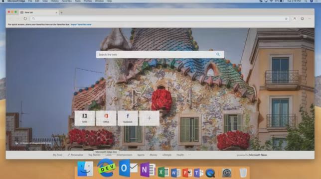 Screen di Microsoft EDGE in esecuzione su macOS