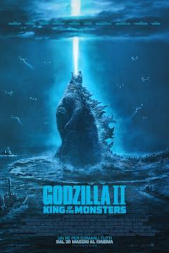 Godzilla in acqua, circondato dagli elicotteri
