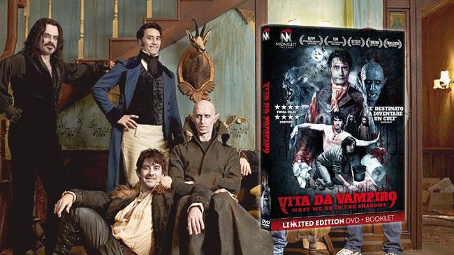 Il cast di Vita da Vampiro e la cover italiana del DVD del film