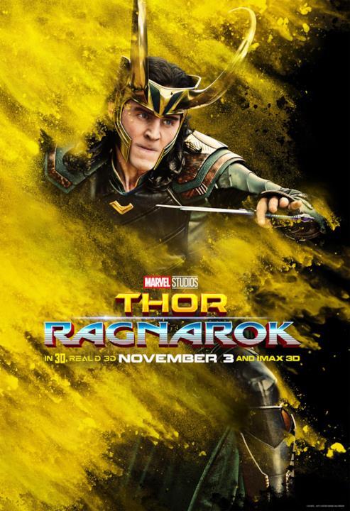 Tom Hiddleston nel poster di Thor con sfondo giallo