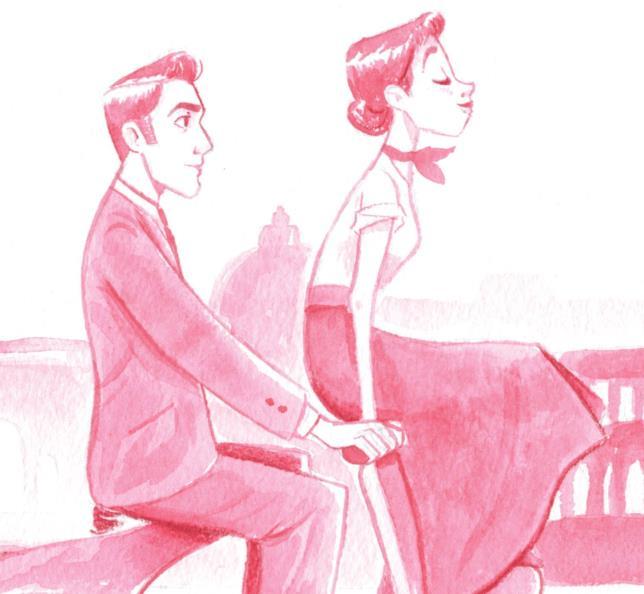 Una illustrazione di una scena del film Vacanze Romane