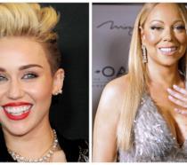 Primo piano di Miley Cyrus e Mariah Carey