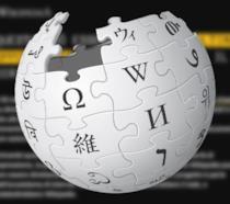 Il logo di Wikipedia su uno sfondo nero