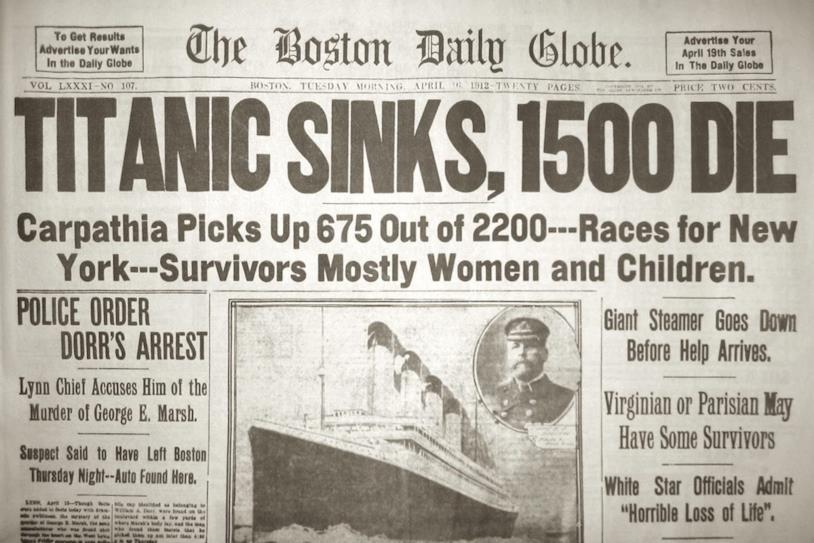 La notizia dell'affondamento del Titanic