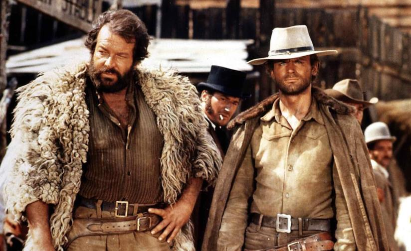 Bud Spencer e Terence Hill in una scena tratta dalla trilogia western di Giuseppe Colizzi